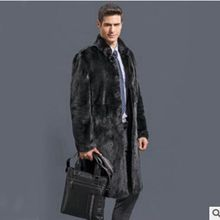 b Men Winter Coats 2018 New Fashion Faux Fox Fur Mens velvet coat fur winter Long Outwears Thick Plus Size Overcoats