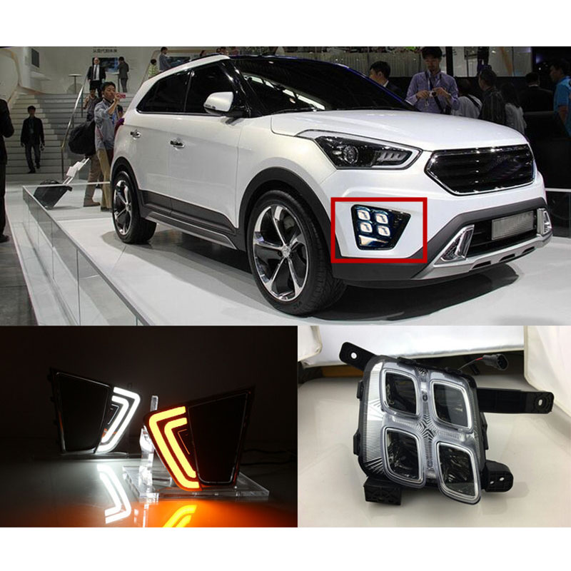 Newest For Hyundai Creta IX25 2014 2015,Turn Yellow Signal Relay Waterproof ABS Car DRL 12V LED Daytime Running Light Daylight