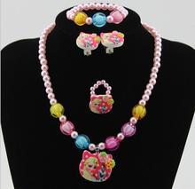 1setGirls Imitation Pearl Cartoon Princess & Snowman Necklace/Bracelet/Ring/Earrings Kids Children acting /party/Christmas Gift