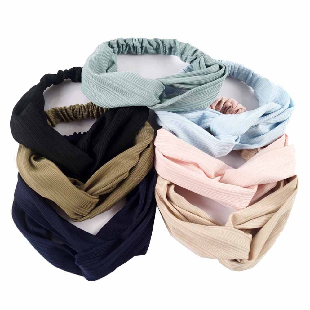 New Women Solid Twist Headband Turban for Girls Makeup Elastic Cross Hair Band Fashion Twisted Knotted Headwrap Hair Accessories 1 pc women fashion elastic stretch plain rabbit bow style hair band headband turban hairband hair accessories