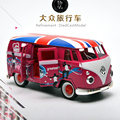 Regalo para bebé 1 unid 14.4 cm Volkswagen Clásico tire volver acustóptica modelo de aleación de coche bus viajes hogar decoración de juguete de niño