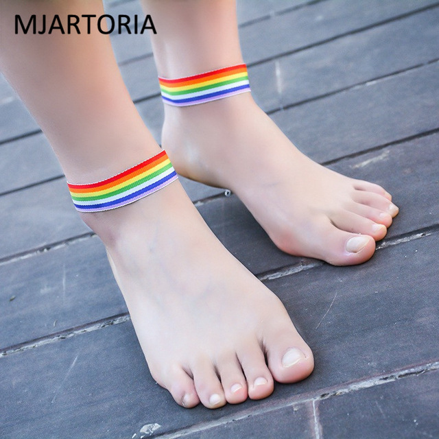 MJARTORIA LGBT Lesbian Gay Pride Weave Cloth Anklet Bracelets Barefoot  Sandals Charm Female Foot Jewelry For