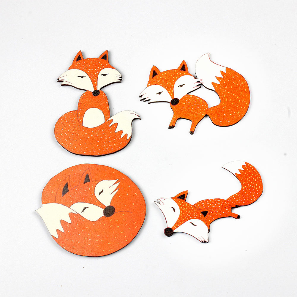 4pcs Fox Deer Different Wood Cut Charms make Pendant Bracelets Brooch DIY(WO-C)