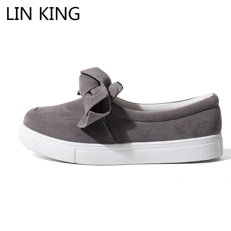 LIN KING New Big Size Women Casual Shoes Cute Bow-Knot Flats Shoes Low Top Slip On Round Toe Lazy Shoes Anti Skid Ladies Loafers spring summer flock women flats shoes female round toe casual shoes lady slip on loafers shoes plus size 40 41 42 43 gh8