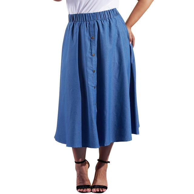 a6d30a38e Autumn Women Plus Size Denim Skirts Pure Color Elastic High Waist Buttons A-Line  Maxi Jeans Skirts Women Casual Street Wear 2019