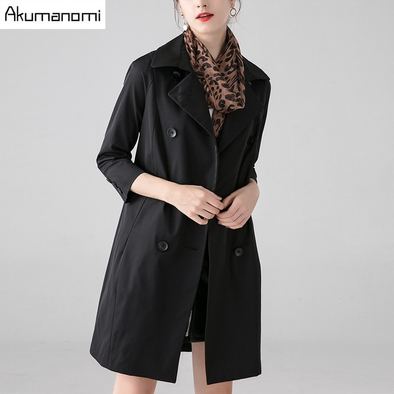 Black Three down Silk Clothes Tops Print Women Collar Trench Leopard Autumn Spring Coat Breasted Il Double Turn Scarves Quarter 5xl Nero I7WEZ8xq
