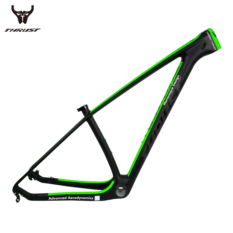 THRUST Carbon mtb Frame 29er 15 17 19 Carbon Bike Frame mtb 29er China Mountain Bicycle Frame Green matte BSA BB30 12 Color стоимость