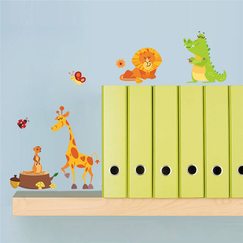 Jungle Forest Animals Wall Stickers for Kids Rooms Safari Nursery ...