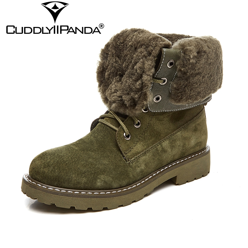 CuddlyIIPanda 2018 Winter Thicken Fur Women Snow Boots High Quality Winter Boots Genuine Leather Martin Boots Green Ankle Boots de la chance winter women boots high quality female genuine leather boots work