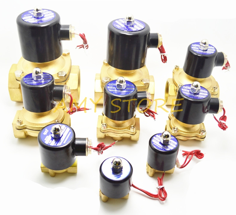 Electric 2W Solenoid Valve Brass Pneumatic Valve NC Normal Close For Water Oil Gas BSPP 1/8