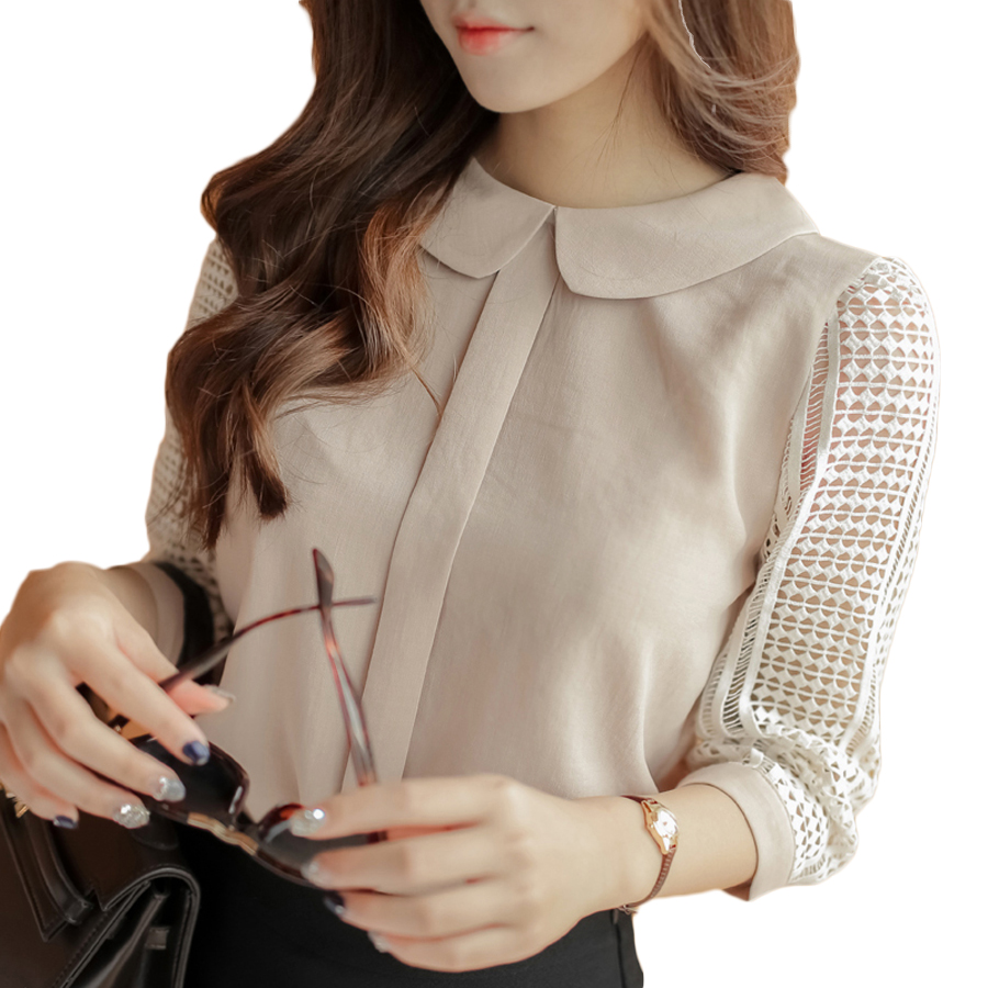 40231a5e67ed3a 2018 Women Clothing Chiffon Blouse Lace Crochet Female Korean Shirts Ladies  Blusas Tops Shirt Dantel Bluz Blouses Slim Fit Tops