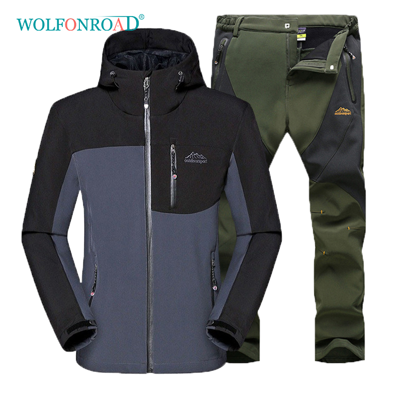 WOLFONROAD Men Winter Warm 5XL Jacket Pants Camping Hiking Waterproof Clothing Mountain Softshell Fleece Windbreaker Trousers men plus size 4xl 5xl 6xl 7xl 8xl 9xl winter pant sport fleece lined softshell warm outdoor climbing snow soft shell pant