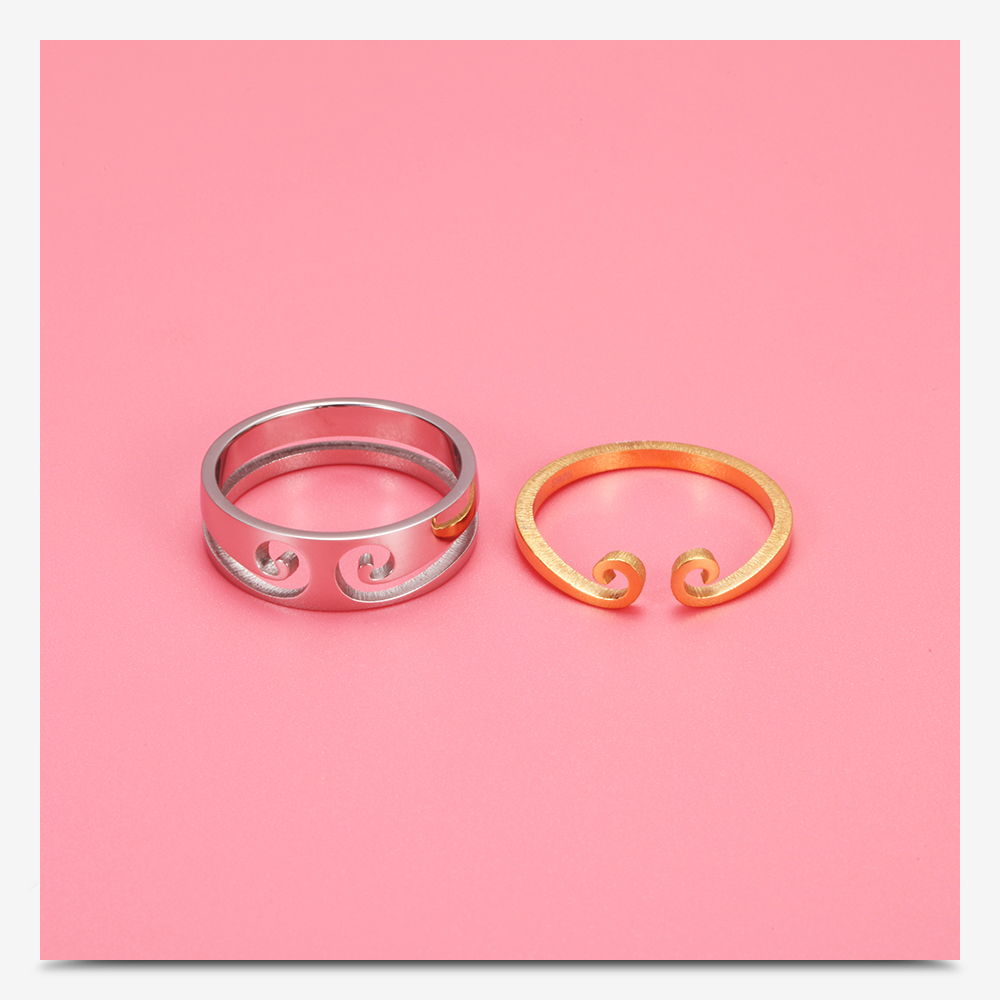 Best Selling Monkey King Gold And Silver Color Couple Rings 2 In 1 ...