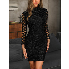 2019 Black Lace Dress Elegant Crochet Hollowed-out Dresses Women Party Office
