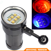 18000LM Hot 4x Red Light + 4x Blue LED Torch Underwater Video Diving Flashlight Lamp 6x 9090 LED White Light Activefire torch