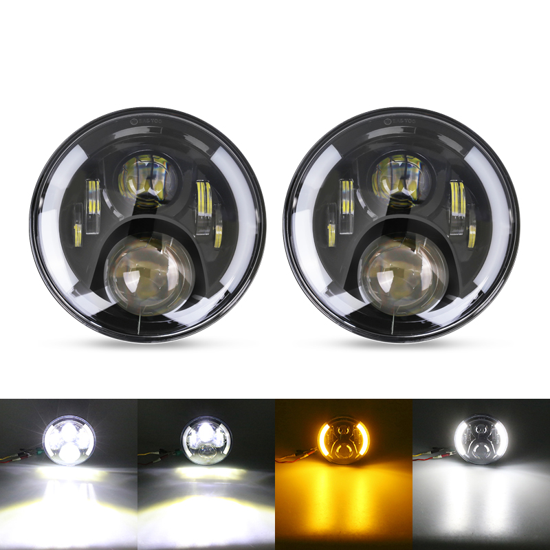 1Pc White 7inch Round Led Headlight Halo Ring Hi/Low Beam Turn Signal DRL Led 7'' Head Lamp For Jeep Wrangler TJ JK Hummer whdz 1pc round 7inch 75w round led headlight hi low beam head light with bulb drl for jeep wrangler tj lj jk cj 7 cj 8 scrambler