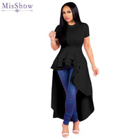 Misshow Casual Short Sleeve Plus Size XL 5XL Women Dress 2019 Solid Ankle Length High Low Dress for Women Robe Femme