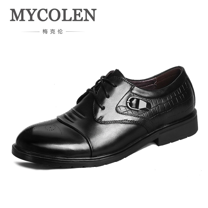 MYCOLEN Men Flats Luxury Fashion High Quality Genuine Leather Shoes Men Lace-Up Business Men Dress Shoes Pointed Toe Derby Homme classic men s genuine leather shoes cowhide leather pig inner pointed toe derby dress wedding business shoes 2018 fashion