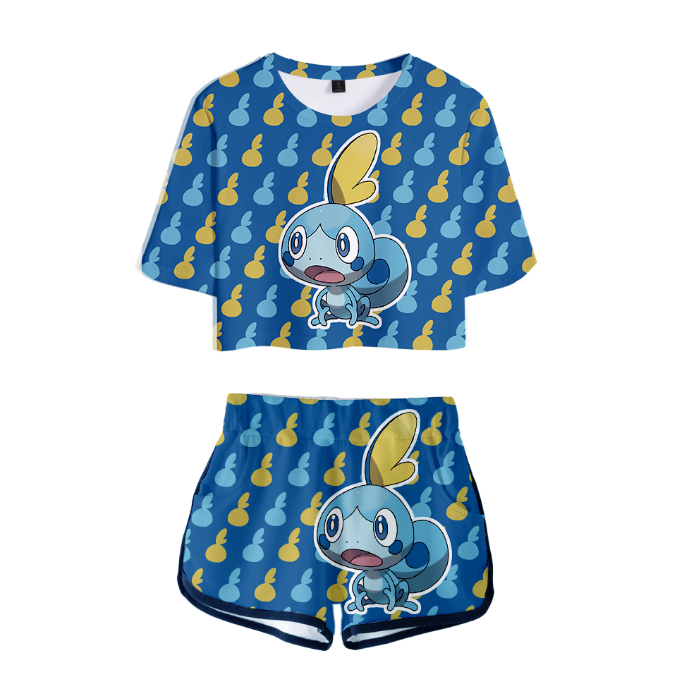 Hot Sale Pokemon Sword And Shield Short Sleeve T-shirt Fashion Women Lovely Crop Top Summer Casual 3d Print Plus Size 4xl Women's Clothing Suits & Sets