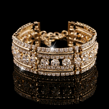 New Fashion gold / silver plated Austrian crystal brand jewelry 5 Multi-chain rhinestone bracelet women fine Jewellry