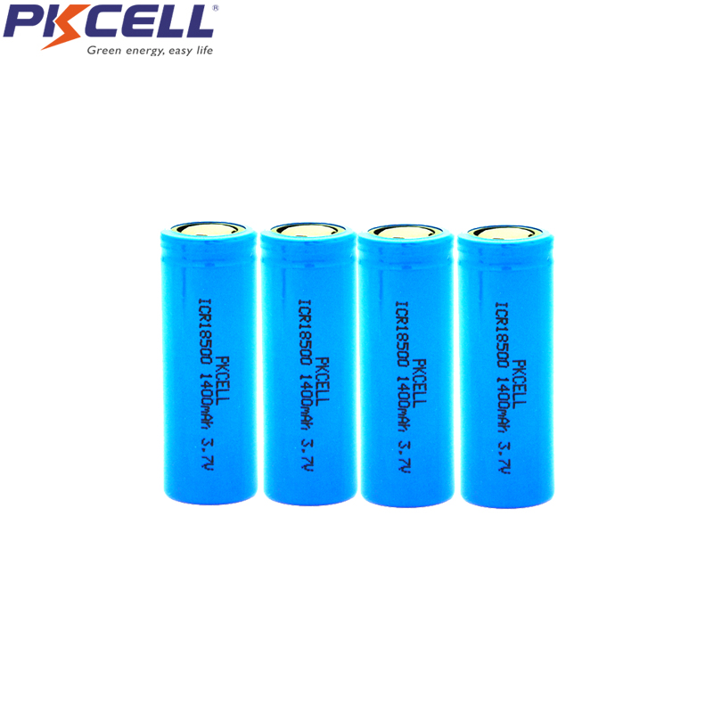 4Pcs PKCELL <font><b>ICR</b></font> <font><b>18500</b></font> 3.7V Li-ion Rechargeable <font><b>Battery</b></font> 1400mAh ICR18500 <font><b>Batteries</b></font> For e-cigarette vaping pipe Torch headlight image