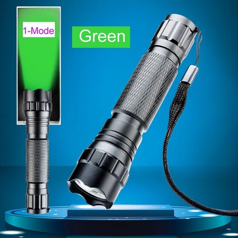 Camping 501B 5W CREE Green LED Aluminium Powerful LED Flashlight Torch Lamp Self Defense Flash Light 300 Lumens 18650 Battery