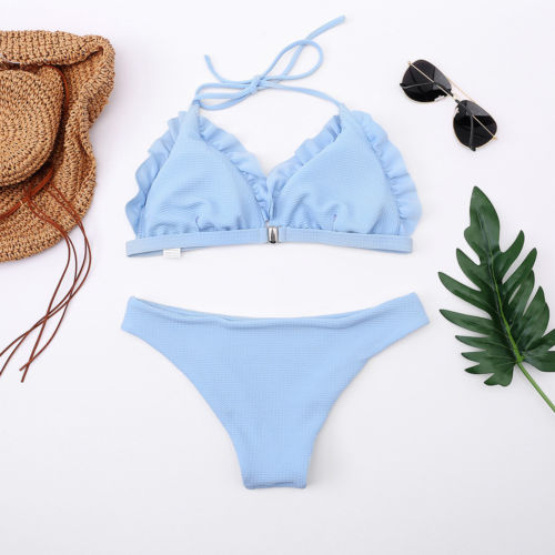 Black Friday Deals New 2018 Summer Women Ruffle Solid Bikini Set Push-up Padded Bra Swimsuit Swimwear e Bathing Suit
