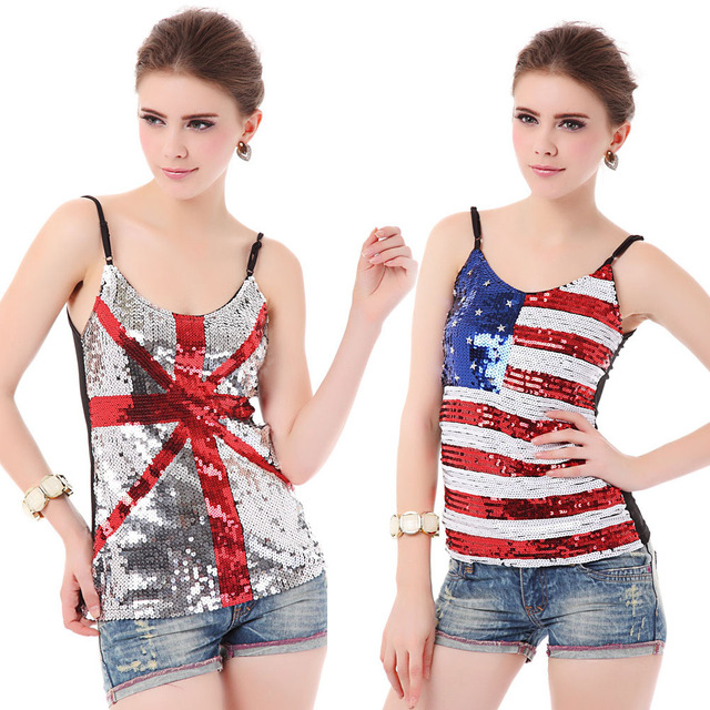 Sexy Ladies Europa e América Nightclub Vestidos Clubwear Lantejoula Camisole Topos Brilhantes Britânico Estilo Da Bandeira Americana Colete de Paetês