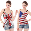 Sexy Ladies Europe and America Nightclub Dresses Clubwear Sequin Camisole Shiny Tops British American Flag Style Sequined Vest