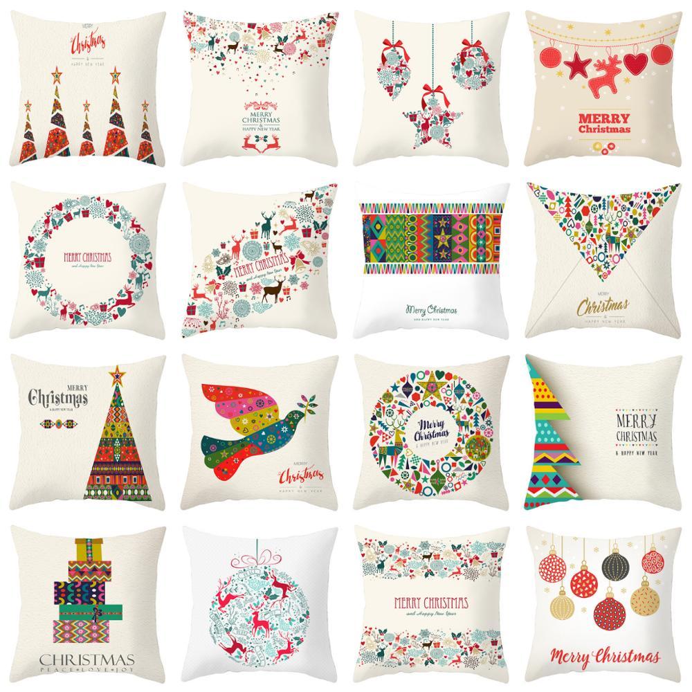 ZENGIA Christmas Cushion Cover Linen Christmas Pillow Cover Santa Claus Decorative Pillows For Sofa Home Decoration Pillowcase