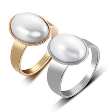 Stainless Steel Luxury Big Oval Simulated Pearl Wedding Ring for Women Boho Midi Ring Gold Silver Engagement Ring Female Bijoux(China)