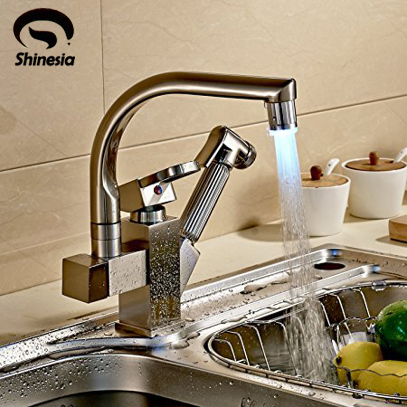 Deck Mounted Brushed Nickel Double Spout Swivel Kitchen Faucet LED 3 Color Change Pull Out Hand Spray Mixer Tap kitchen faucets modern style pull out spray swivel spout mixer tap deck mounted 360 degree rotation torneira cozinha yd 200