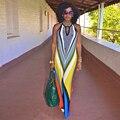 Красочные длинные Желтые Dashiki африканских печати платья для женщин Традиционная Одежда макси платье vestido де феста