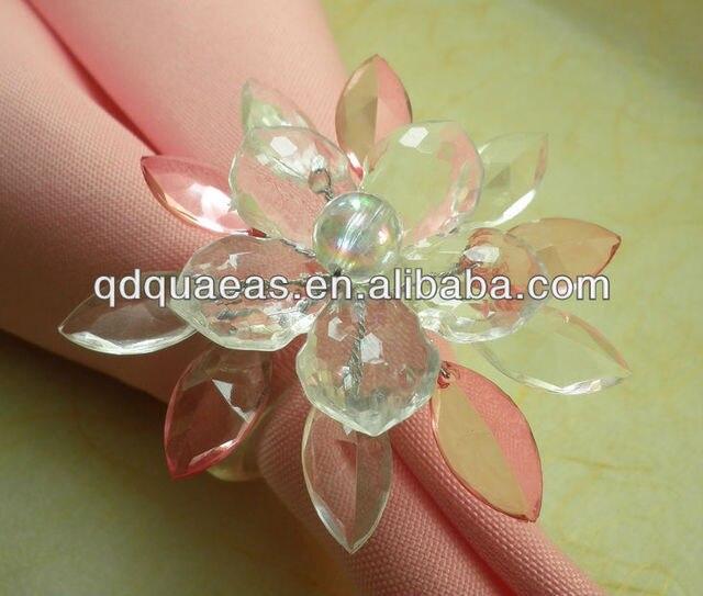 beades flower bulk diamond napkin ring acrylic diamond wedding