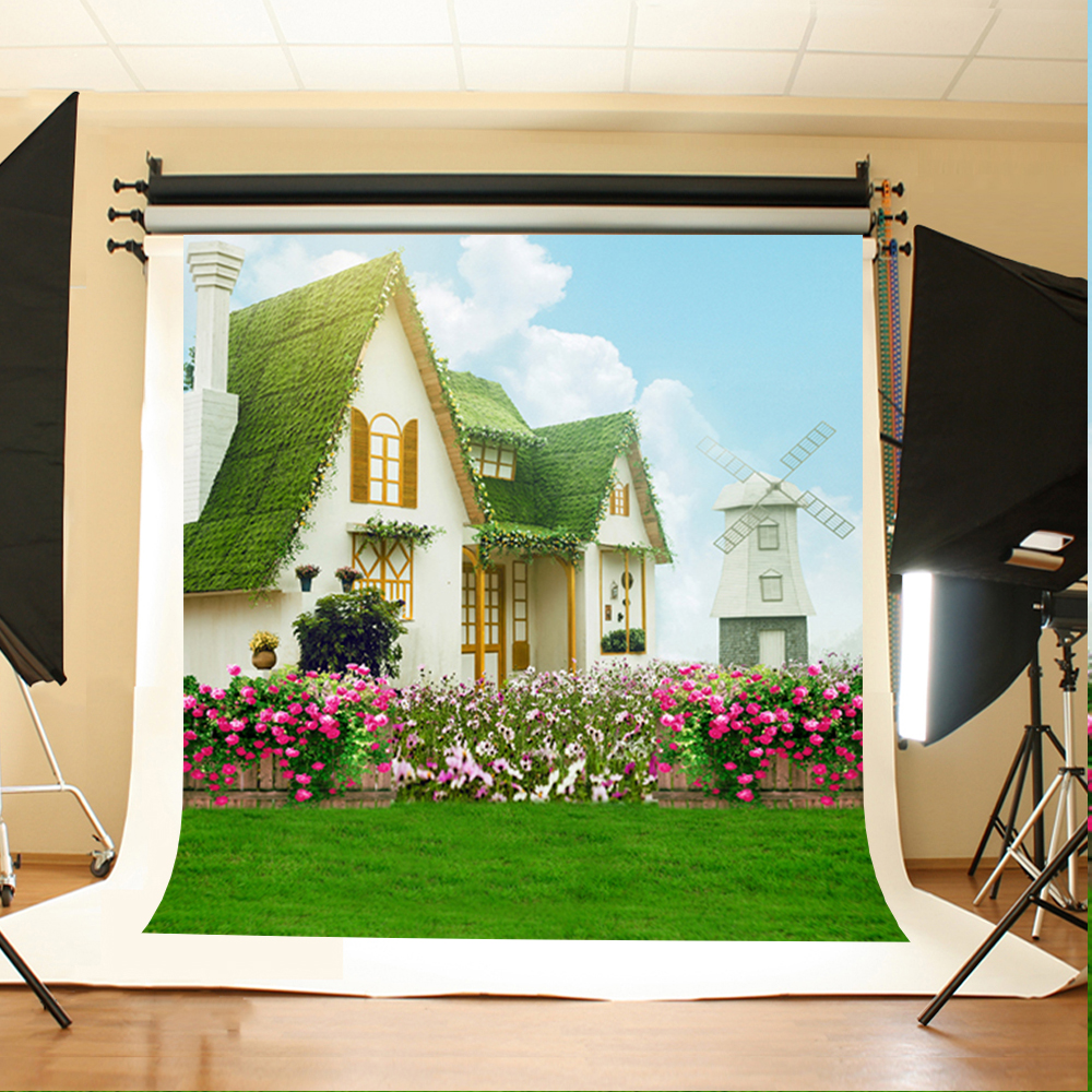 Wedding Photo Background Flowers Grass House Computer Printing Backdrops Blue Sky and White Clouds Backgrounds for Photo Studio seaside beach white clouds and blue sky photo backdrop high grade vinyl cloth computer printed wedding backgrounds