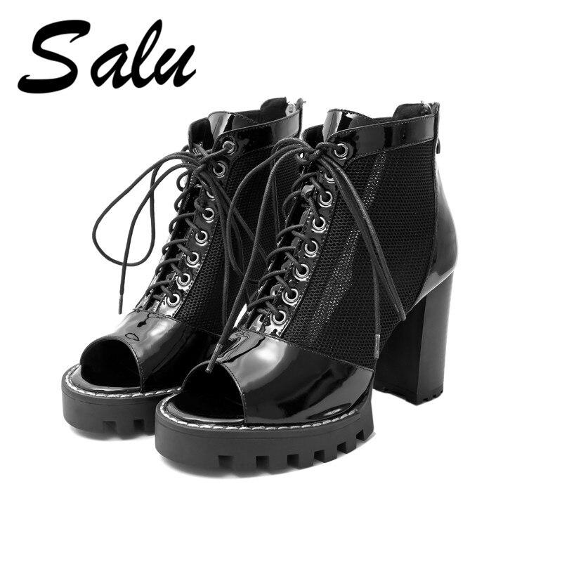 Salu Peep Toe Ankle Boots Women 2019 New Hollow Square High Heel Zipper Summer Genuine Leather