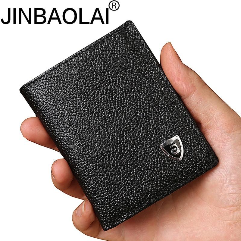 Bank ID Business Credit Genuine Leather Card Holder Men Wallet Male Purse Bag Small Case Cover On Pocket For Cardholder Portmann