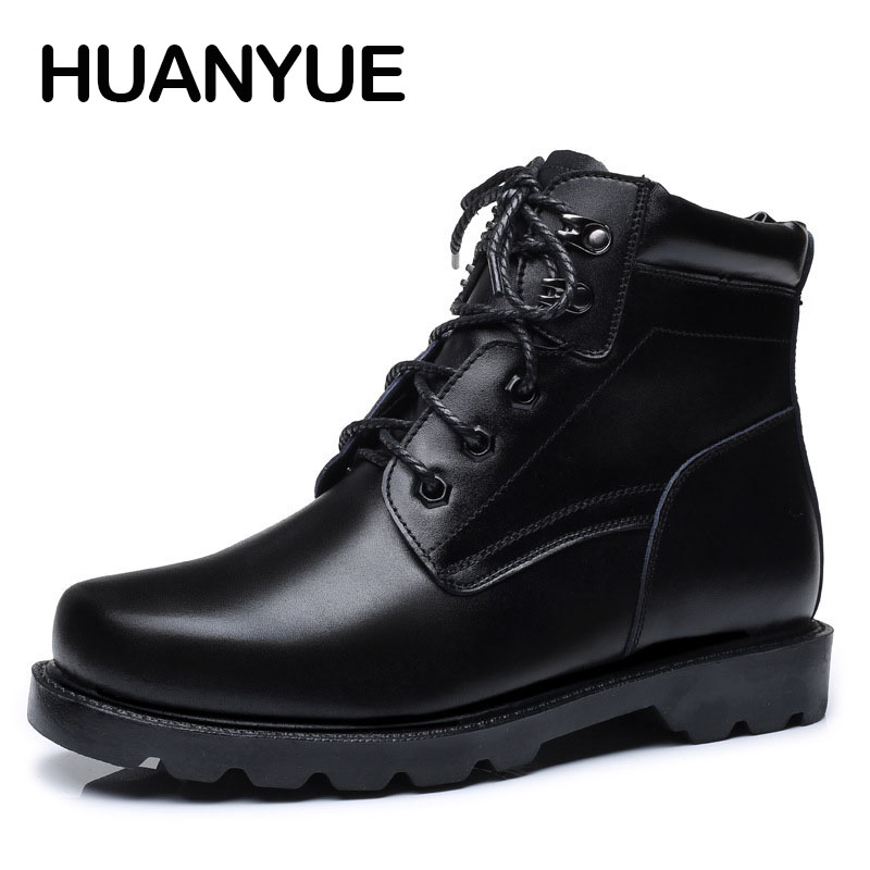 2018 New Autumn/Winter Men Boots High Quality Men's Leather Shoes Black Warm Martin Boots Men Fashion Snow Boots Ankle Booties 2016 new arrival men winter martin ankle boots pu leather high quality fashion high top shoes snow timbe bota hot sale flat heel