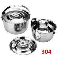 304 Крышка для раковины из нержавеющей стали, кастрюля для приготовления супа, кастрюля для приправ с маслом, цилиндрическая бочка, миска для яиц, тушеный горшок, бутылка для хранения молочной соли