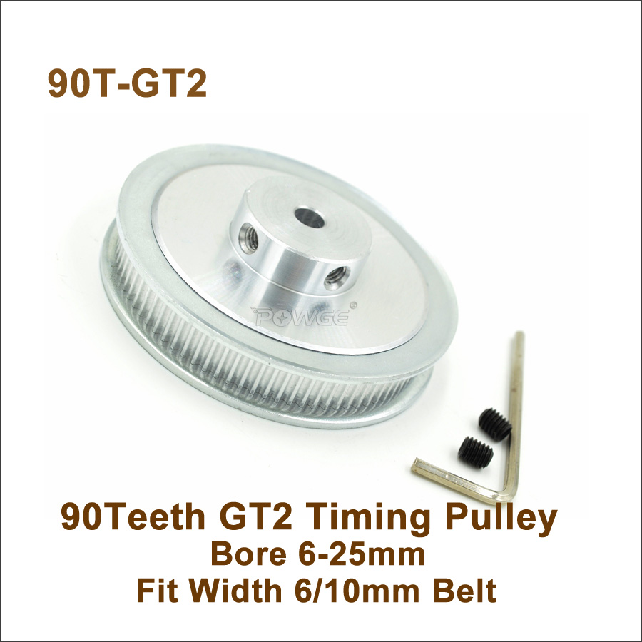 POWGE 90 Teeth 2GT Timing Pulley Bore 6-25mm Fit W=6/10mm 2GT Synchronous Belt 90T 90Teeth GT2 Pulley 3D Printer