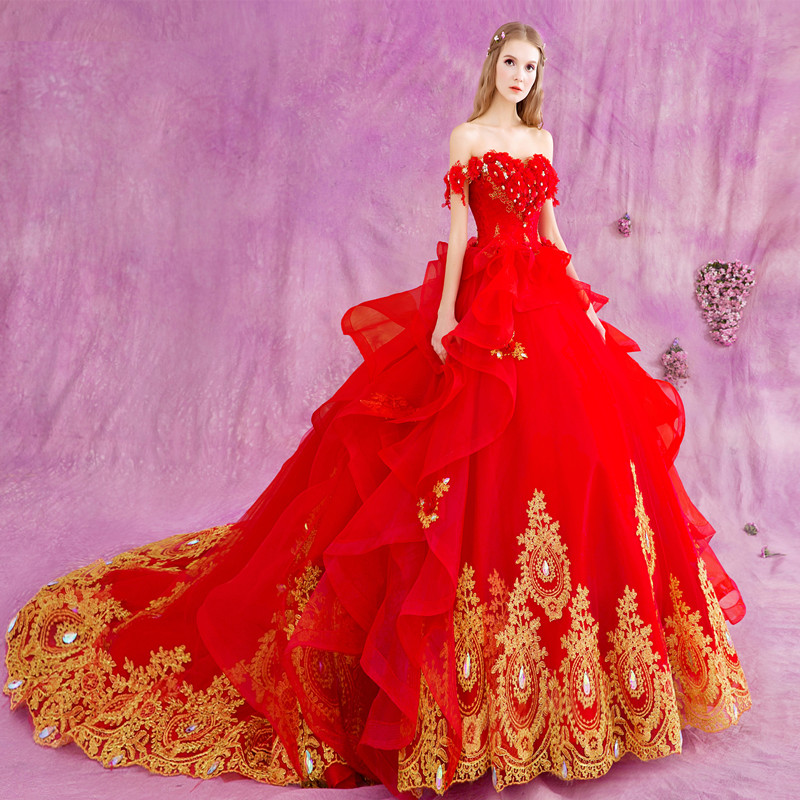 red wedding dress ball gown with golden lace appliques wedding gowns vestidos de novia robe de mariage mariee