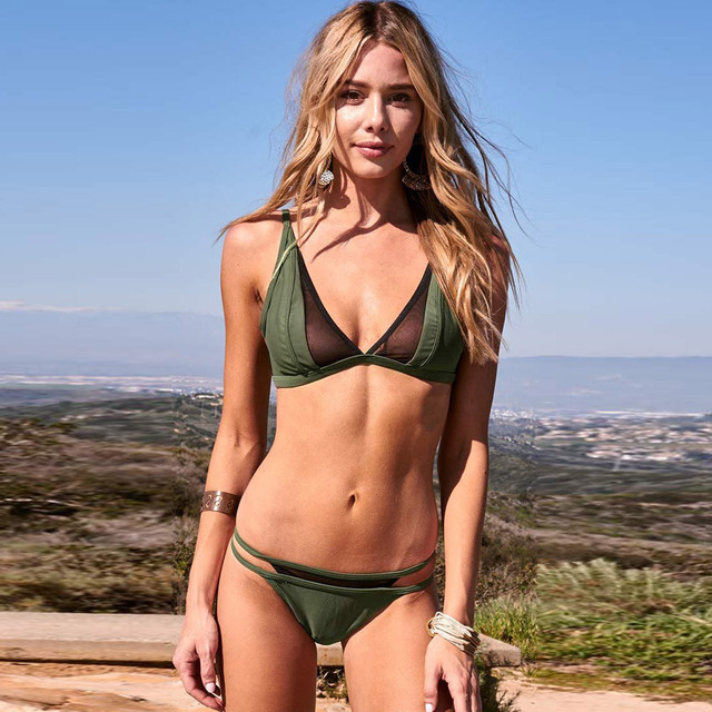 2PCS Summer Swimwear Women 2018 Net Yarn Bandage Bikini Set Push-up Padded Bra Swimsuit Bathing Suit ja26