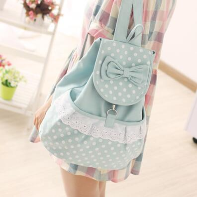 Canvas shoulder bag female Korean tidal fashion cute bow bags women canvas school bag high-capacity backpack College Wind sweet aosbos fashion portable insulated canvas lunch bag thermal food picnic lunch bags for women kids men cooler lunch box bag tote