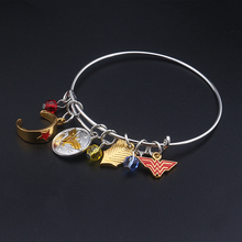 Hot DC Movie New Wonder Woman Bracelet Bangle Silver Gold Enamel Superhero Fashion Jewelry Bangles for