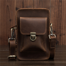 Crazy Horse Mens Genuine Leather Cowhide Vintage Travel Cell/Mobile Phone Hip Bum Belt Pouch Fanny Pack Waist Purse Bag 2069-1 цена
