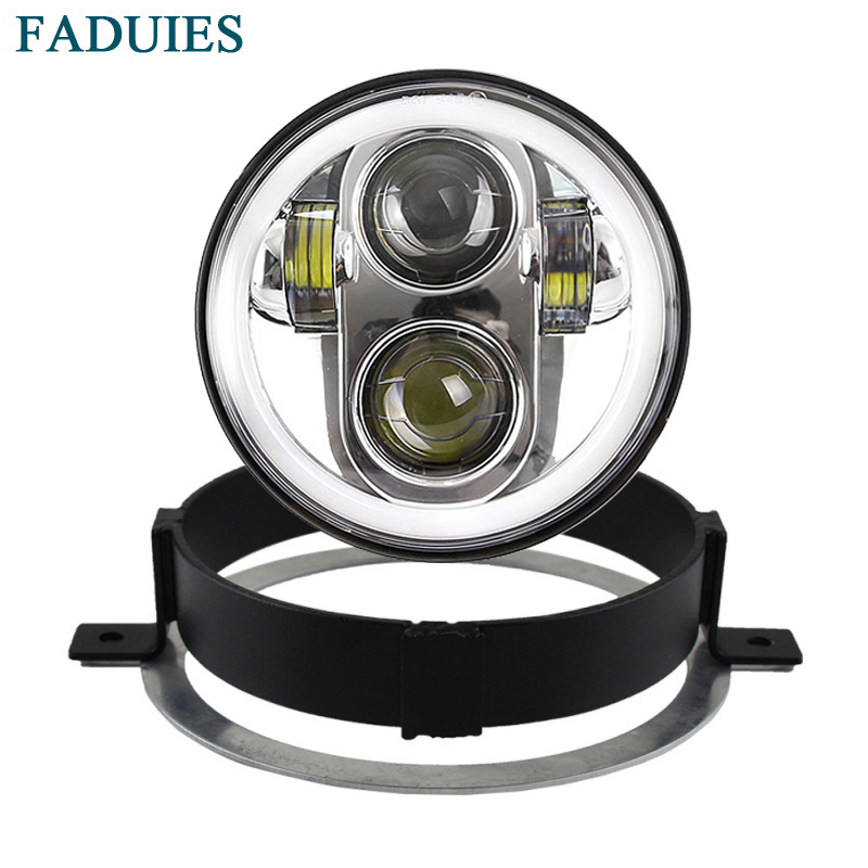 FADUIES Chrome 5 3/4 Led headlamp For Honda 2002-2008 VTX 1800, VTX 1300 5.75 inch Motorcycle LED Headlight with Halo Ring FADUIES Chrome 5 3/4 Led headlamp For Honda 2002-2008 VTX 1800, VTX 1300 5.75 inch Motorcycle LED Headlight with Halo Ring