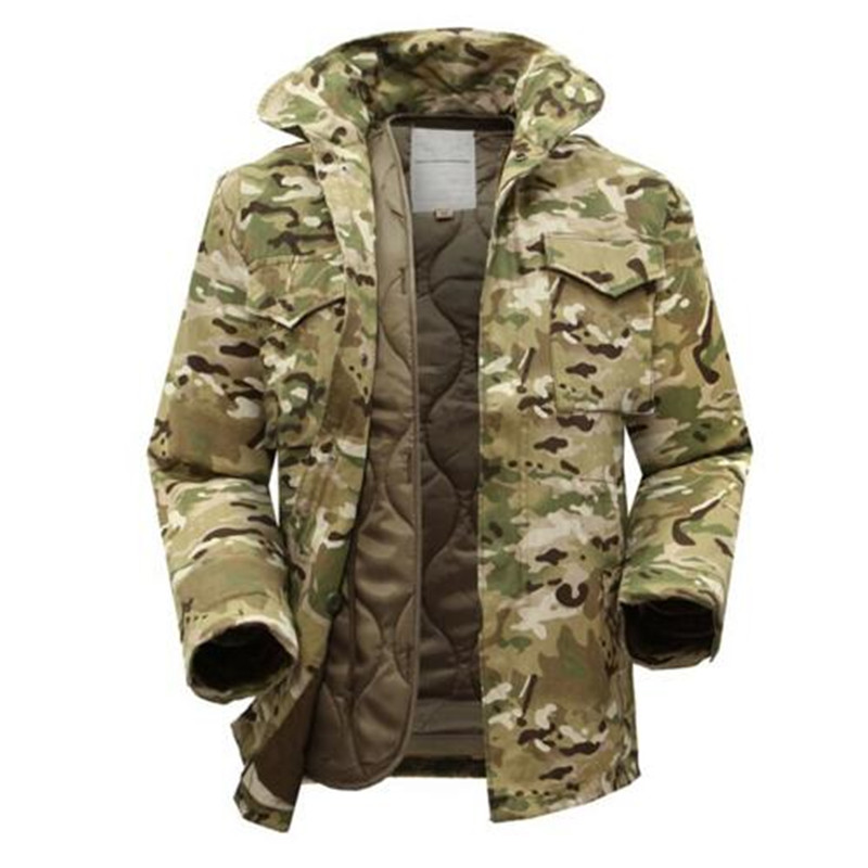 Winter Men Tactical Military Camouflage Jacket With Warm Detachable Inner Cotton Windbreaker Outdoor Field Hiking Camping Coat winter outdoor tactical military training windbreaker hooded coat outwear men s hiking climbing cotton warm waterproof jacket