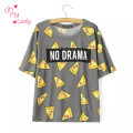 T shirt Women Cute Pizza NO DRAMA Letters Print Short Sleeve Tops Shirts Casual camisas femininas tops