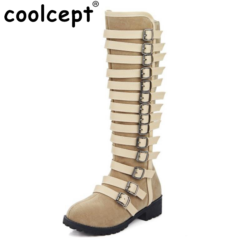 ФОТО New Fashion Women Round Toe Flat Knee Boots Women Warm Fur Winter Knight  Boot Woman Buckle Style Shoes Footwear Size 33-46