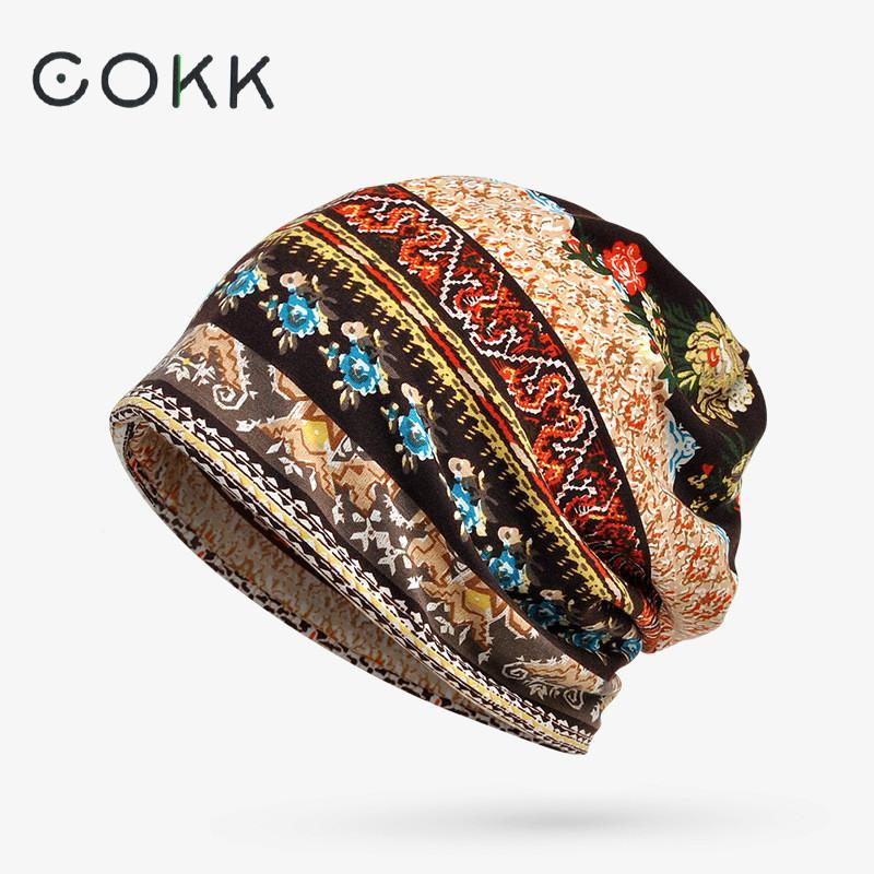 COKK Pălării pentru bărbați Femei Beanies Doamnelor Camuflaj subțire Floare Hip Hop Beanies Hat masca eșarfă Bonetă Femeie Bărbat Toamnă Nou